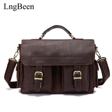 Lngbeen Genuine Leather Coffee Men Briefcase Laptop Business Bag Cowhide Men's Messenger Bags Luxury Lawyer Handbags LB8408