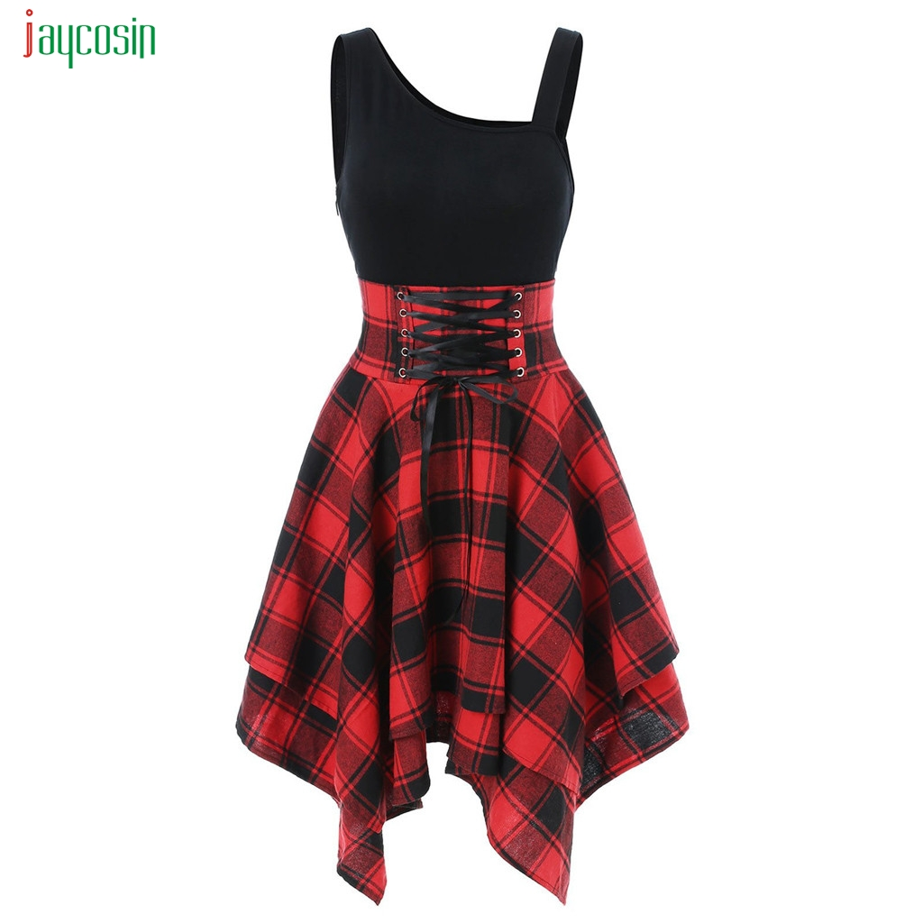 Jaycosin Knee-length Dress Women Street Style Plaid Lace Up Irregular Dress Ladies Casual Party Vestidos De Fiesta
