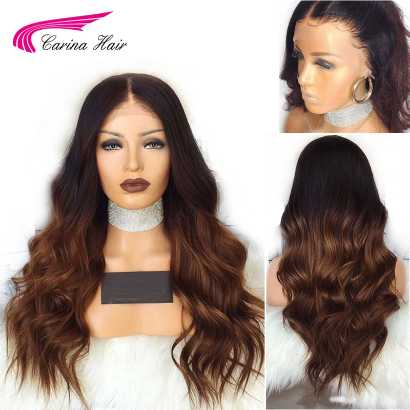Carina Body Wave Lace Front Wigs with Baby Hair Indian Remy Human Hair Wigs Pre plucked Hairline Ombre Color Glueless Lace Wigs