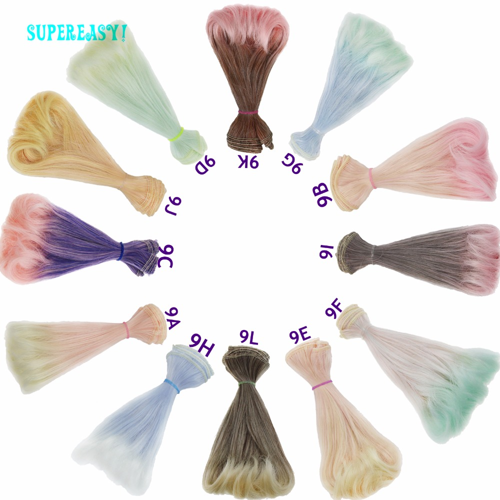 1 Pcs 15CM*100CM BJD Doll Wigs Wavy Bob Haircut Multicolor Purple High Temperature Gradient Curly Hair 1/3 1/4 DIY For Barbie