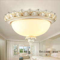 European retro white resin ceiling lamp living room hallway bedroom American classical LED ceiling lamp free shipping