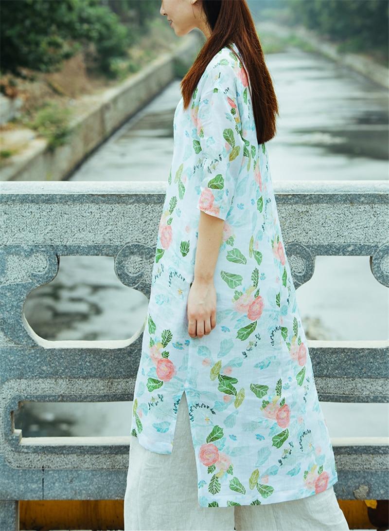 Dress up diary baju pelaut - Johnature 2017 Musim Panas Baru Asli Linen Gaun Jubah Menyapu Teratur Setengah Lengan Antik Cetak Harajuku