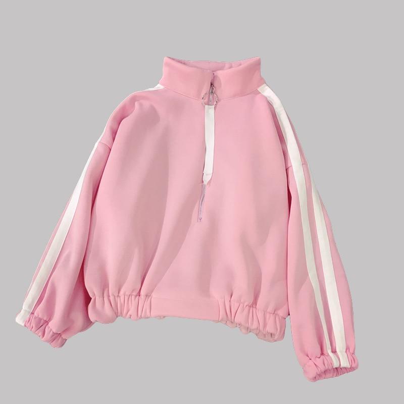 Cutey rose Zipper ruban Sweatshirts femmes 2018 col haut vêtements d'extérieur lâche décontracté étudiant manteau chaud fille XXL H