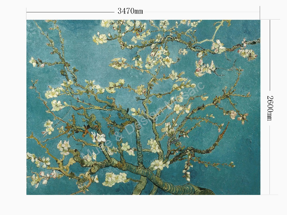 Van Gogh Apricot Flower Crystal Glass Hand made Mural Art Mosaic ...