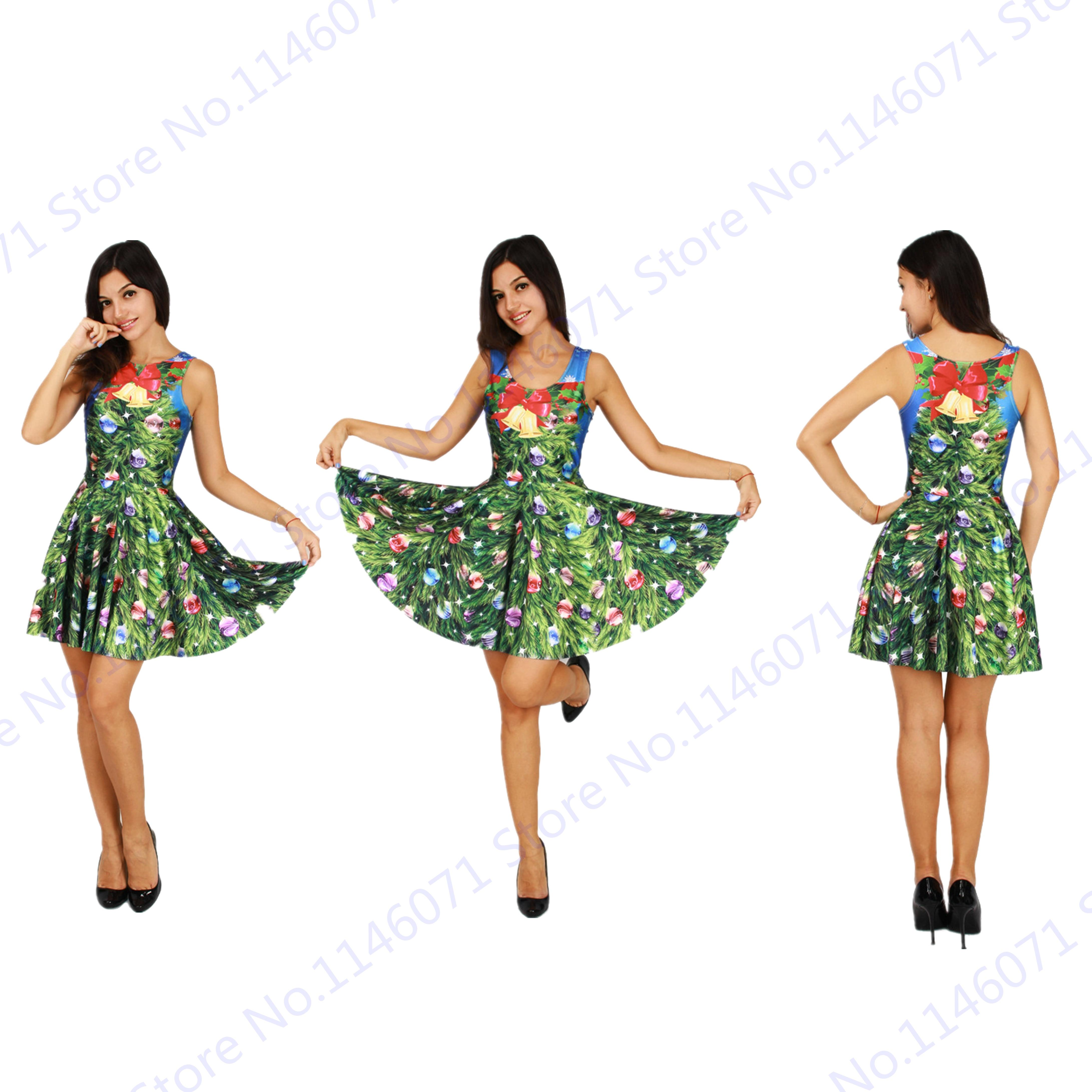 Green Christmas Trees Jingle Bells Skater Dresses Reversible y