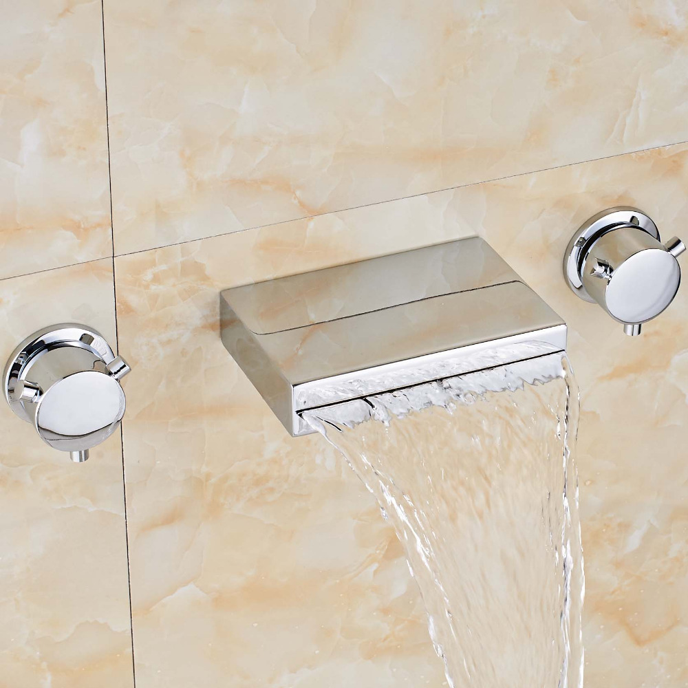 Uythner Newly Style Widespread Tub Faucet Waterfall Square Spout Polish Chrome Sink Faucet Tap Mixer цена