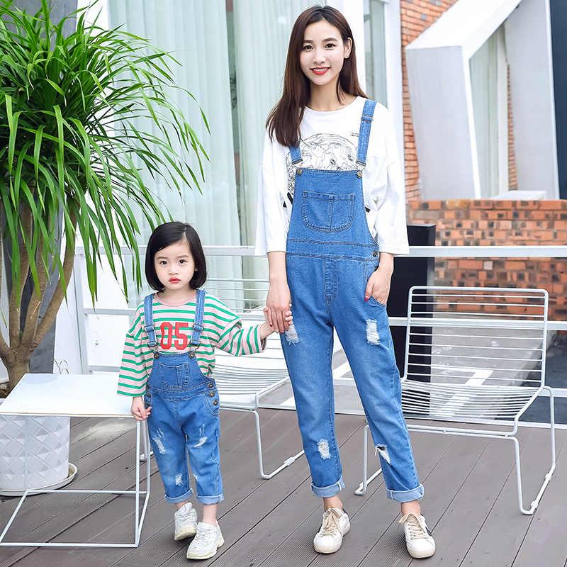 Anne Anne ve Kızı Elbise Askısı Cep Kot Aile Giyim Anne Kızı Oğlu Kot Tulum Bebek Kız Erkek Yeni Varış