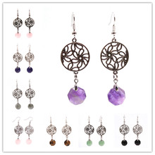 Trendy-beads Silver Plated Round Hollow Flower Hexagon Amethysts Stone Earrings Rose Pink Quartz Jewelry