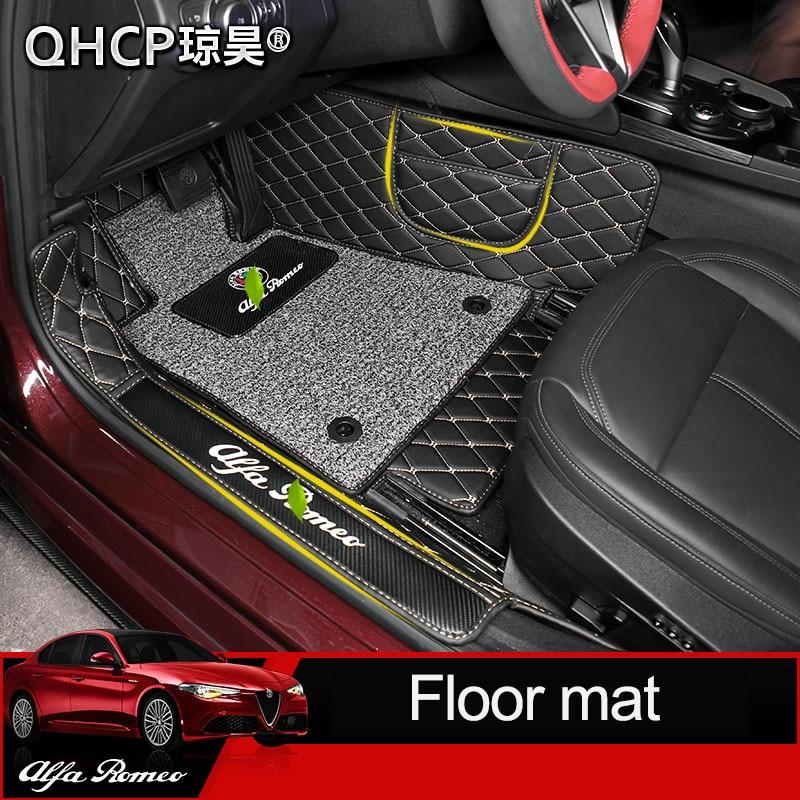 QHCP Car Surrounded Floor Mats For Alfa Romeo Giulia Car Styling Carpet Microfiber Leather Luxury Carpet