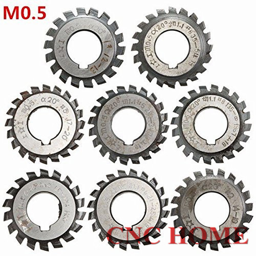 Free Shipping 8PCS HSS Gear Cutter Module M0 5 N01 NO8 16mm Angle 20 Milling cutter
