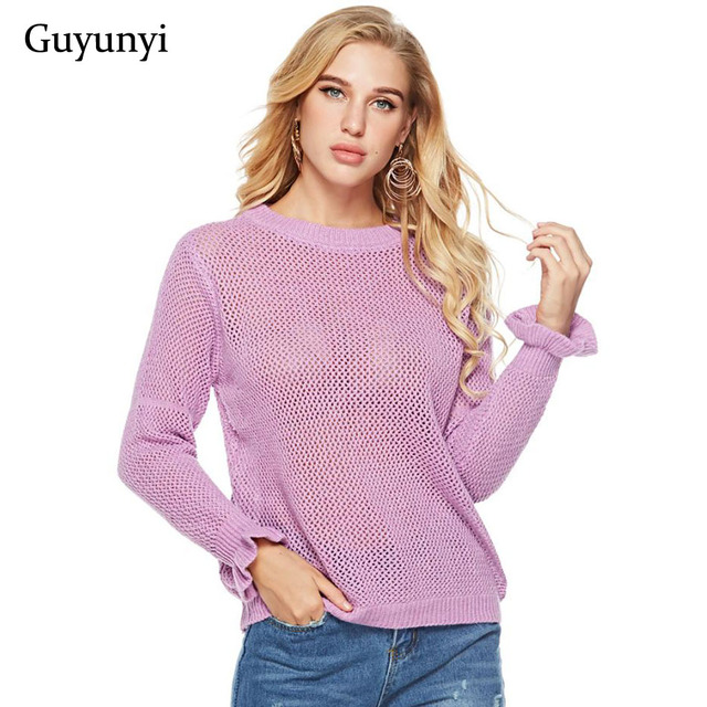 2edaddcd0a Purple Round Neck Long Sleeve Simple Casual Basic Sweater Autumn Modern  Ladies Office Pullover Sweater