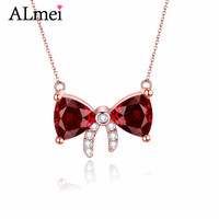 Almei Female 0 3ct Bowknot Garnet Necklaces 925 Sterling Silver Rose Gold Plated January Birthstone Jewelry