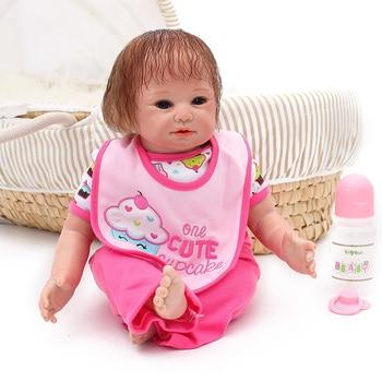 Girl Reborn Baby Doll 20Inch 50 cm Newborn Silicone Babies rooted hair Cloth Body  Dolls Toy Kids bebe gift reborn bonecas