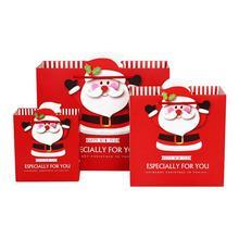 10 Pcs/lot High-grade Paper Cartoon Santa Claus Print Tote Bag Christmas Gift Bag Children Gifts Package Bag calico print tote bag