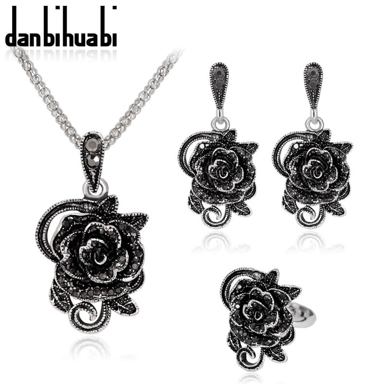 Danbihuabi Jewellery Flower Drop Pendant Necklace Earrings Set Antique Sliver Color Jewelry Sets Ca054A