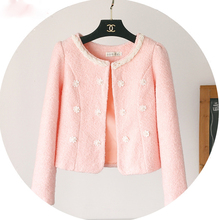 New winter coat T-shirt all-match pearl small high-quality wool coat woolen cloak ball outside the ride