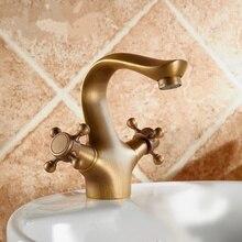 Estilo europeo Cocina Mezclador de Cobre Caliente Y Fría Del Grifo Banheiro Accesorios de Baño Doble Asa Grifo Superior