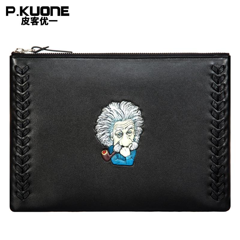 P.KUONE Brand 100% Genuine Leather Original Design Hand-painted Einstein totem Clutch Bag Black Male Wallet Handbag Male Clutch totem 15 2016 green black