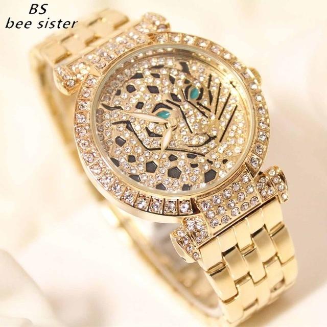 BS Brand Fashion luxury Women Quartz Watch Steel Leopard Rhinestone Ladies Wrist