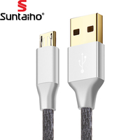Micro USB Cable Suntaiho 5V2.5A Metal Nylon Braided Wire USB Charger Sync Data Cable for Samsung Galaxy Xiaomi HTC Sony Phones