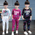 Spring autumn children clothing girls set floral printed kids suit casual two-piece sport suit for girl tracksuit sports twinset