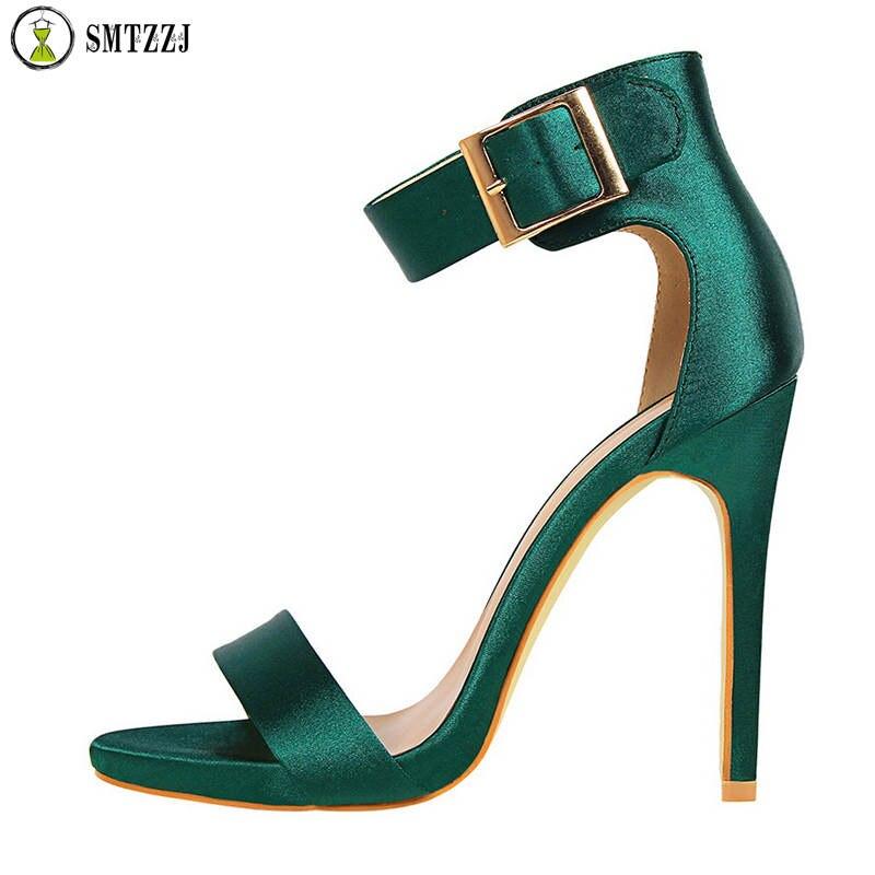 Luxury Brand 12 cm Women Summer Elegant Sandals Heel Design Sexy Silk Classic High Party