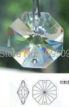 Free Shipping,Clear Crystal Quartz Faceted Octagon Charms Pendants 14x14mm two holes