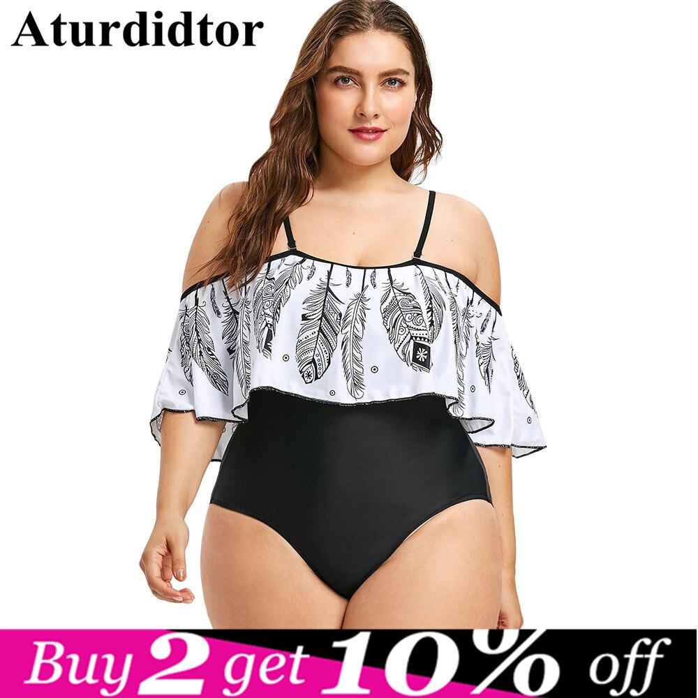 Plus Size Swimwear Women Feather Printed Open Shoulder Large Size 1 One Piece Swimsuit Plus Size Bodysuit Large Size 3XL 4XL