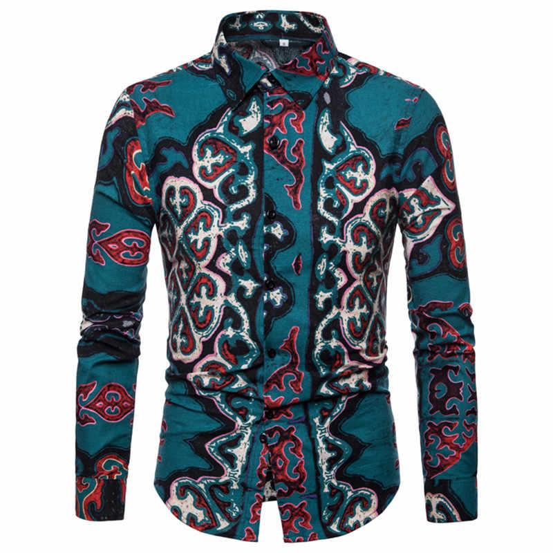 メンズドレス花シャツ長袖ヨーロッパの国柄プリント男性シャツプラスサイズ 2XL 夏衣装シャツのための男性 a435
