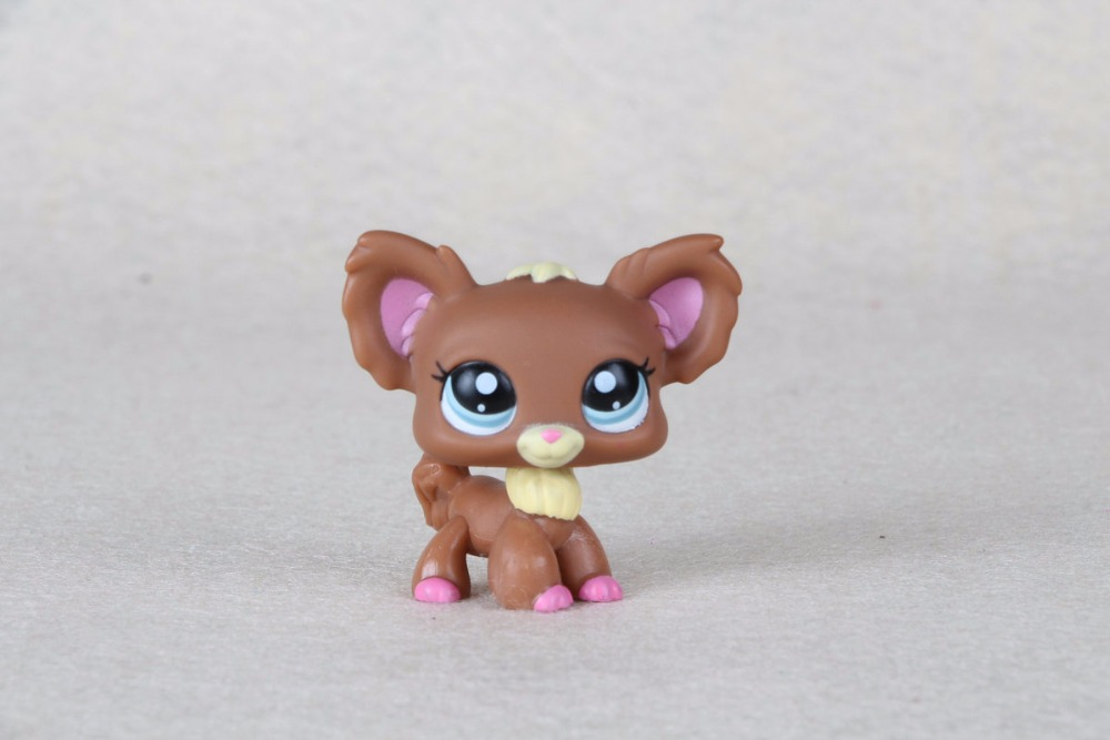 New pet Genuine Original LPS #1623 Blue Eyes Chien Papillon Brown Chihuahua Dog Kids Toys pet shop toys dachshund 932 bronw sausage dog star pink eyes