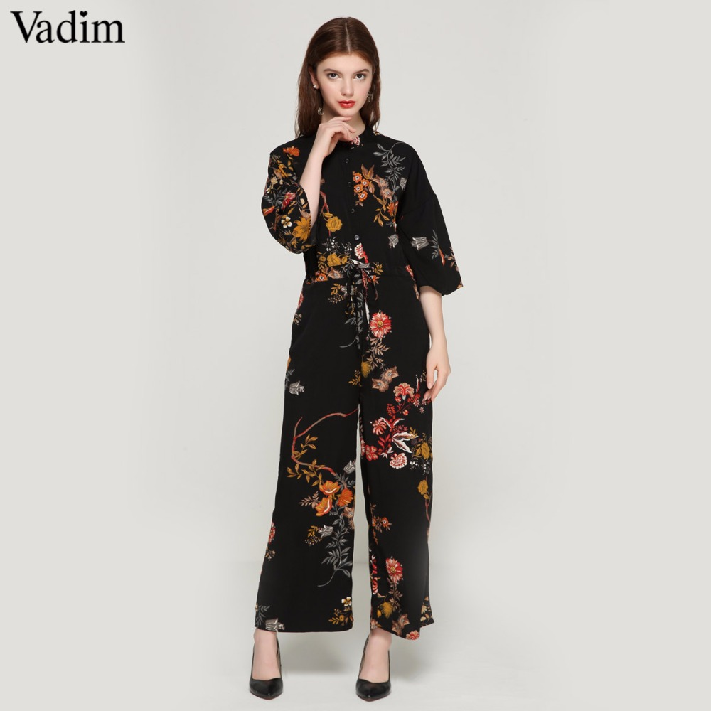 2a97abd9635 Vadim women vintage floral jumpsuits wide leg pants bow tie belt elastic  waist pockets rompers female chic playsuits KZ1175-in Jumpsuits from Women s  ...