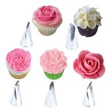 5Pcs/Set Rose Petal Metal Cream Tips Cake Decorating Tools Icing Piping Nozzles Cupcake