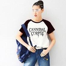 Cannibal Corpse Print Raglan Short Sleeve Tshirt Raglaned T shirt Women Gothic Grunge Heavy Metal Music T-shirt Tee Shirts