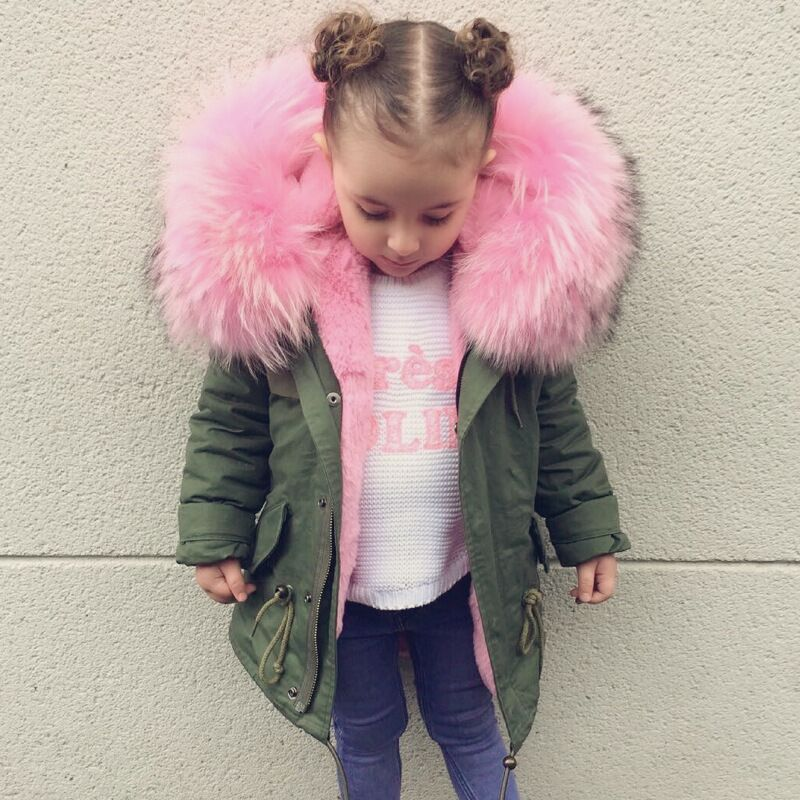 Baby Girls Winter Coat Faux Fur Liner Jackets For Boy Parka Children's Outerwear Coat Toddler Girls Thicken Warm Fur Coat 1-8T faux fur coat