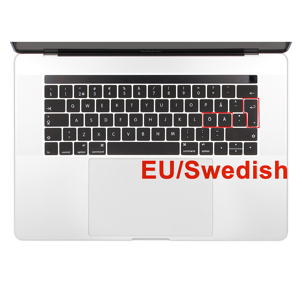 EU Enter Swedish Language Silicone Keyboard Cover Skin för ny Macbook Pro 13 15 tum A1706 A1707 Släppt 2016 och 2017