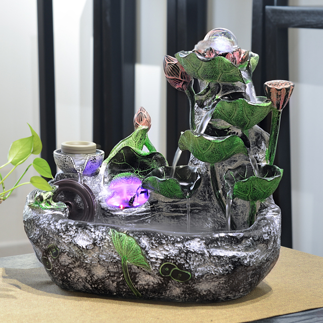 110 220v Vintage Creative Resin Desktop Lotus Water Fountain Feng Shui Rockery Home Ornaments