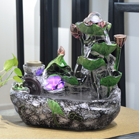110/220V Vintage Creative Resin Desktop Lotus Water Fountain Feng Shui Rockery Fountain Home Ornaments Office Air Humidifier