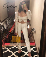 White New Celebrity Long Sleeve Pullover Lace Up Tops Zip Pants 2 Pieces Women's Sets