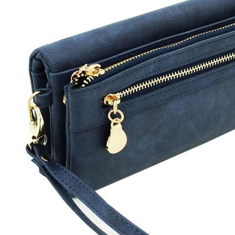 Fashion Women Wallets Dull Polish Leather Wallet Double Zipper Day Clutch Purse Wristlet Portefeuille Handbags Carteira Feminina 3