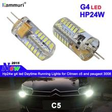 2pcs No error G4 Hp24w led drl Daytime Running Lights for Citroen c5 peugeot 3008 LED DRL daytime running light
