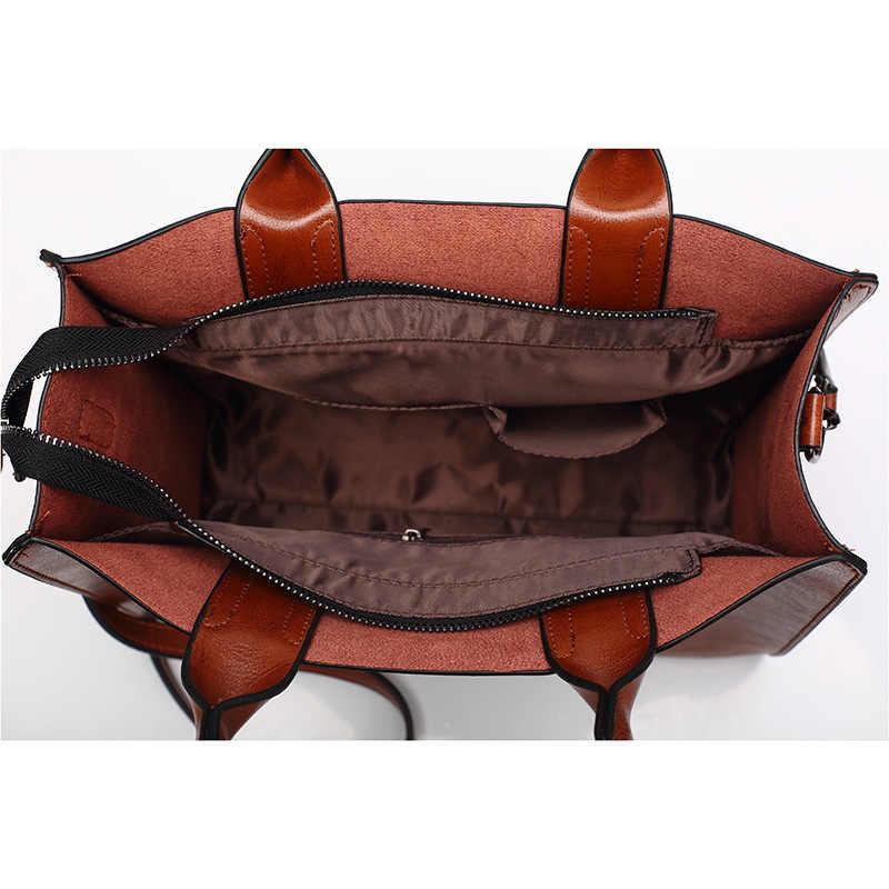 ジダクマ女性のレザーバッグヴィンテージハンドバッグカジュアル女性バッグ高品質トランクトートレディースショルダーバッグバッグ大メッセンジャーバッグ