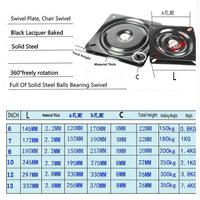 HQ SW1 7INCH 172MM Black Lacquer Baked And Full Solid Steel Ball Bearing Swivel Plate TV