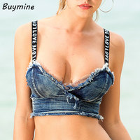 Bralet Women Bustier Crop Top 2017 Sexy Padded Bra Demin Tops Boho Beachwear Night Club Party