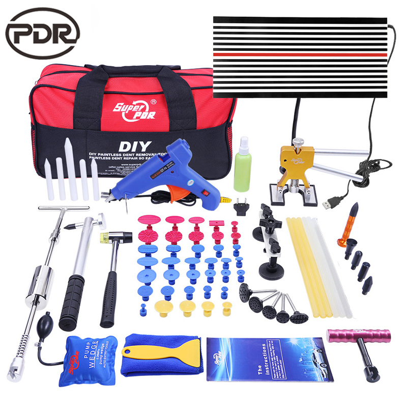 PDR Tools Remove Dent Car Body Paint Paint Dent Repair Tool Set LED Lamp Reflektor Board Reserve Hammer Sací pohár pro krupobití