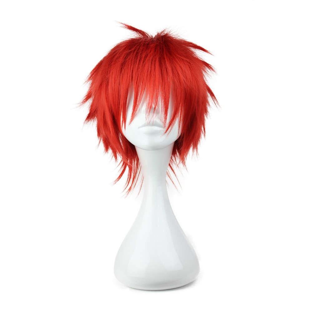 MCOSER 35cm Short Synthetic Red Color Wig 100% High Temperature Fiber Hair Free Shipping eat Resistent Wigs WIG-023H