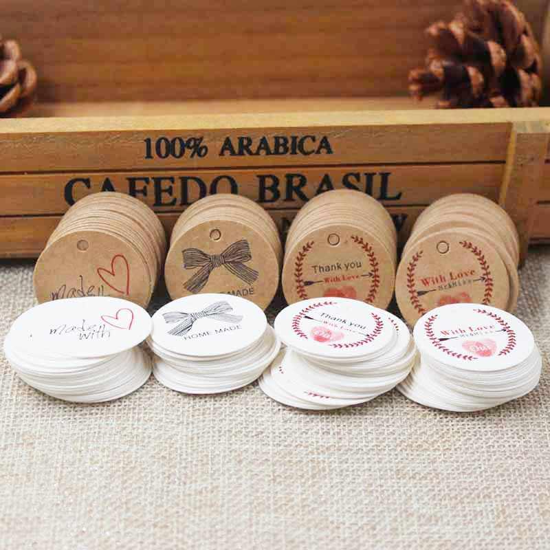 100 Chiếc Mới Zerong Tự Chế Tặng Nhãn Tag, Vintage Với Tình Yêu Kraft Thẻ Quà Tặng, kẹo Ủng Hộ Màn Hình Trang Trí Nhãn Thẻ 3 Cm