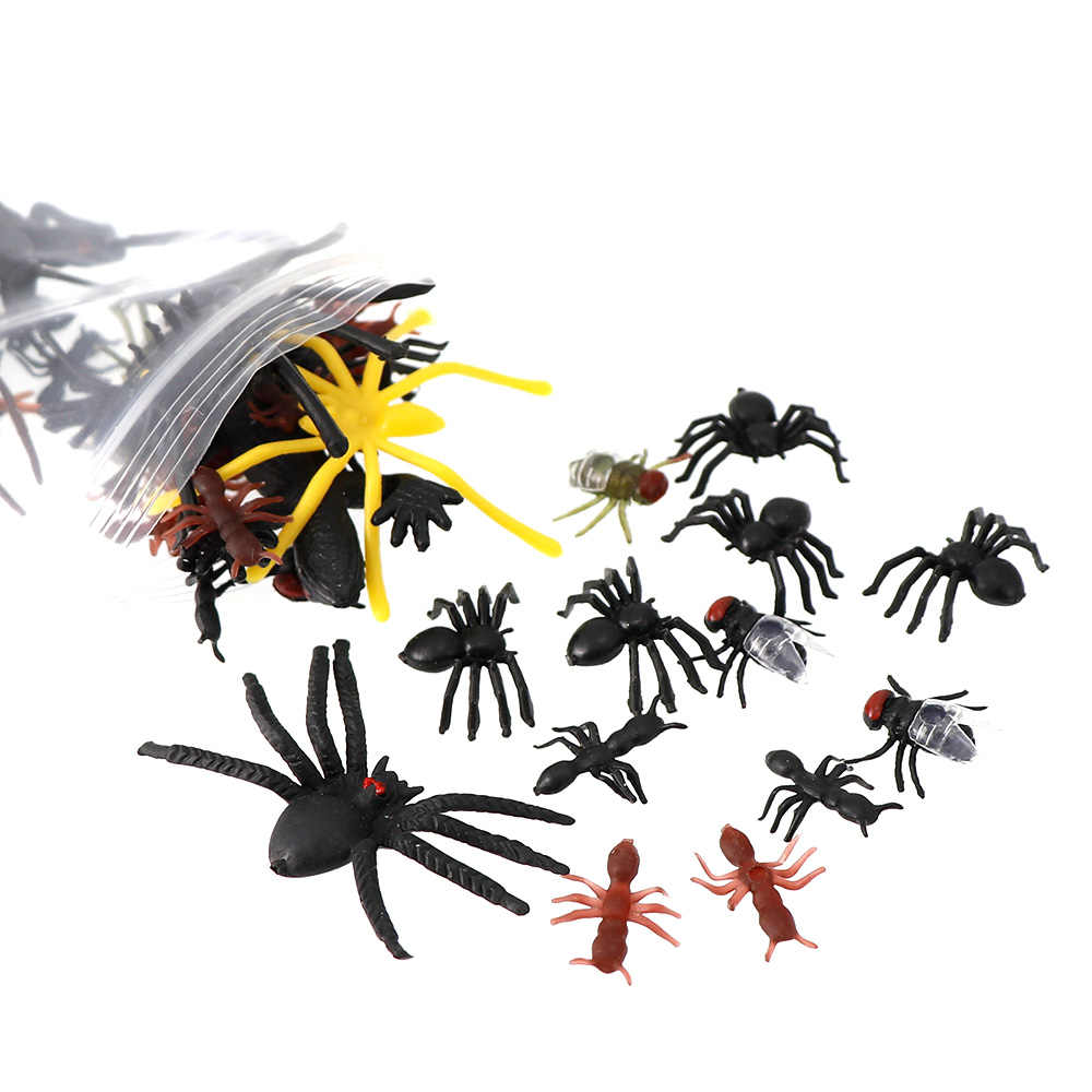 50Pcs סימולציה פלסטיק באגים מזויף Gecko נמלת מקק זבוב עכביש עבור ליל כל הקדושים המפלגה טובות קישוט חידוש Gag צעצועים