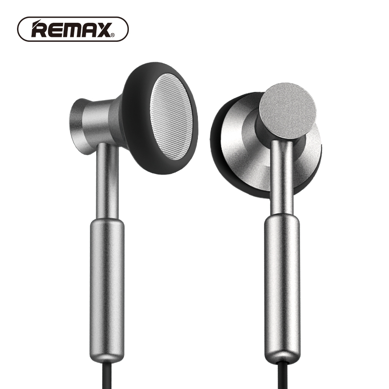 REMAX Clear Metal In-ear Earphones with HD Mic Noise isolating Heavy Bass Earbuds Braided Cable Flat Earset for Christmas Gift fashion professional in ear earphones light blue black 3 5mm plug 120cm cable