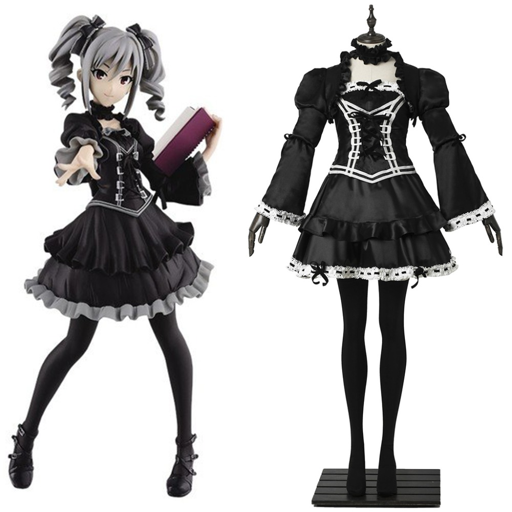 Cosplaydiy Anime The Idolmaster Cinderella Girls Kanzaki Rank Cosplay Costume Dress Girls Black Lolita Dress L320