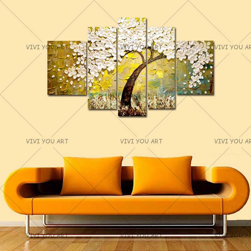 ナイフ 3D 花の絵画 5 パネル写真ハンド抽象白い花油彩画キャンバスにアート家の装飾